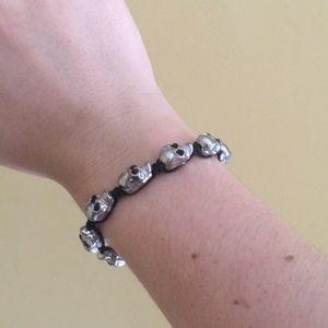 Jewelry - Skull bracelet with black rhinestone eyes.